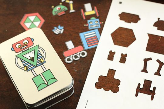 Stocking Stuffer: Design-A-Robot Tin, with magnet sheets from the printer. Free printable.