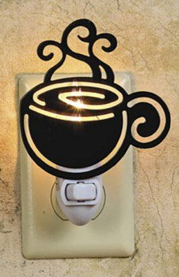 COFFEE cup silhouette NIGHT LIGHT cappucino DECOR NEW for $8.88 - I am getting ideas for our soon to be revamped kitchen. I think I might go with coffee theme :)