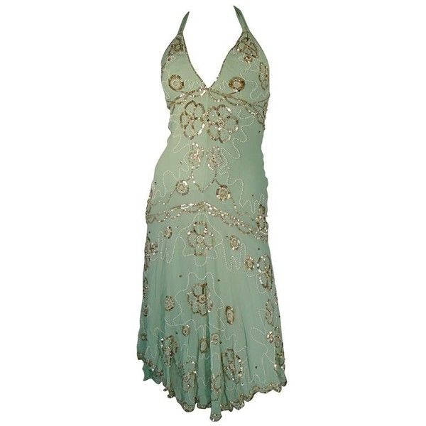 Preowned Temperly London (€685) ❤ liked on Polyvore featuring dresses, grey, gold sequin cocktail dresses, gold beaded dress, beaded dresses, grey sequin dress and halter-neck dress