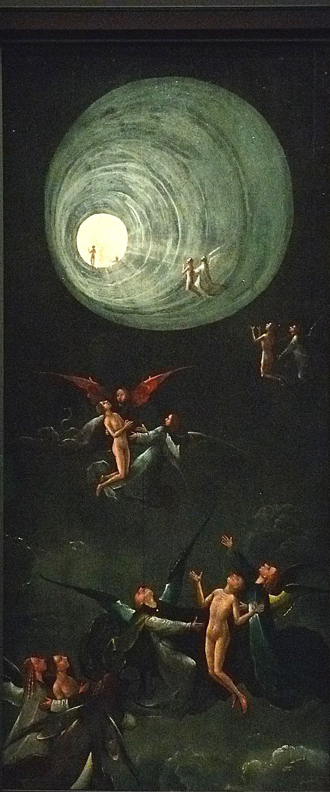 "BOSCH Jérôme,1505-10 - Vision de l'Au-Delà, La Montée des Bienheureux (Venise) - 0  -  TAGS/details détail détails ""paintings 15e"" ""15h-century paintings"" ""peinture hollandaise"" ""Dutch paintings"" ""peintres hollandais"" ""Dutch painters Venice Veneziana Museum Italie Italia Italy Hieronymus monstres monster monsters ""Jugement Dernier"" ""Last Judgment"" Bible fire battle femme woman women man men hommes people bare naked nu Paradise Hell couteau knife mort death ange angel angels"