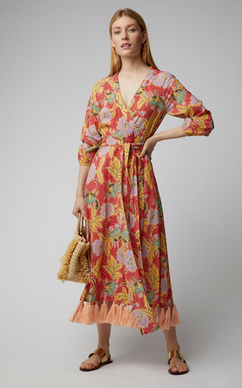 Lena tasseled floralprint cotton wrap dress in bohemian chic