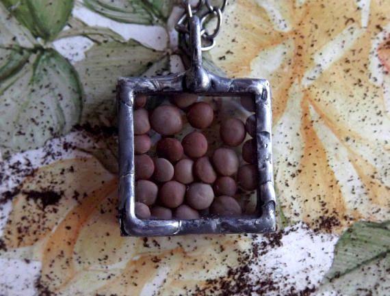 Square pendant with dried lentils. Original pendant. Tiffany