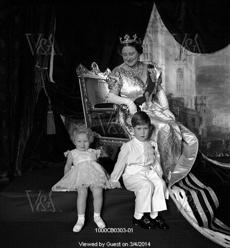 Elizabeth, The Queen Mother, with her grandchildren, Princess Anne and Prince Charles on the Coronation Day of her daughter, Queen Elizabeth II