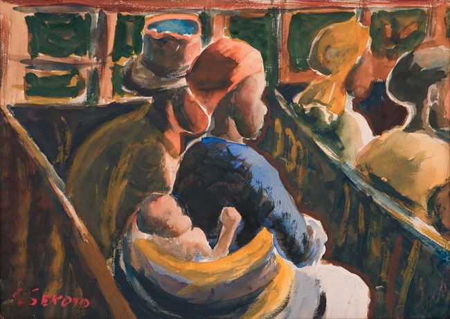 Gerard Sekoto (South Africa, 1913-1993)  The Waiting Room