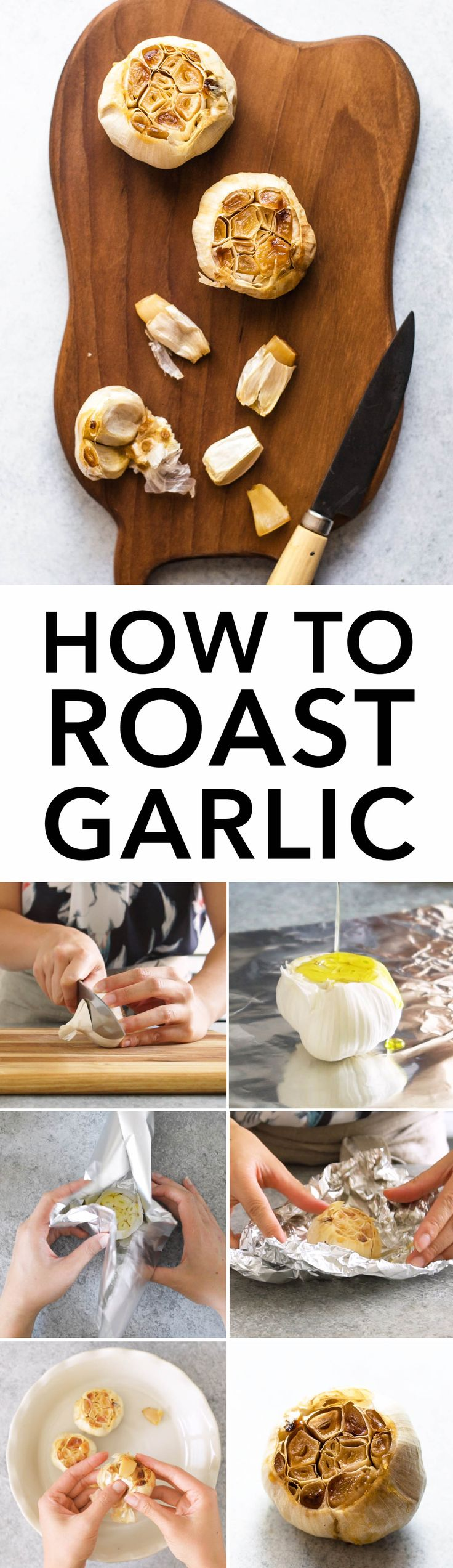 VIDEO TUTORIAL on how to roast garlic. Roasted garlic is great with roasted vegetables or mixed in dressings and hummus!