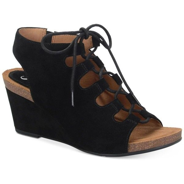 Sofft Maize Wedge Sandals ($110) ❤ liked on Polyvore featuring shoes, sandals, black, platform wedge shoes, black sandals, gladiator sandals, wedge heel gladiator sandals and sofft shoes