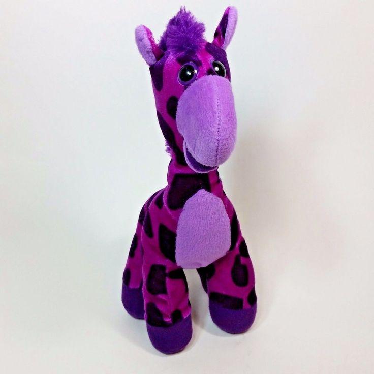 "Purple Giraffe Big Eyes Plush 13"" Toy Soft Stuffed Animal Kids Gifts #ClassicToyCo"