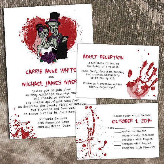 haha I wish I was doing an October Wedding... would totally do this.     Custom Halloween Zombie Wedding Invitations by PuttinOnTheGlitz4U, $4.95