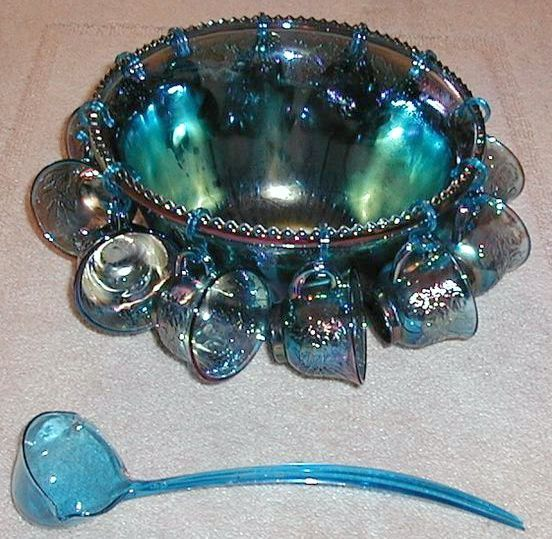 Indiana Carnival Glass Punch Bowl Set IRIDESCENT BLUE - Harvest Grape COMPLETE with blue ladle <3