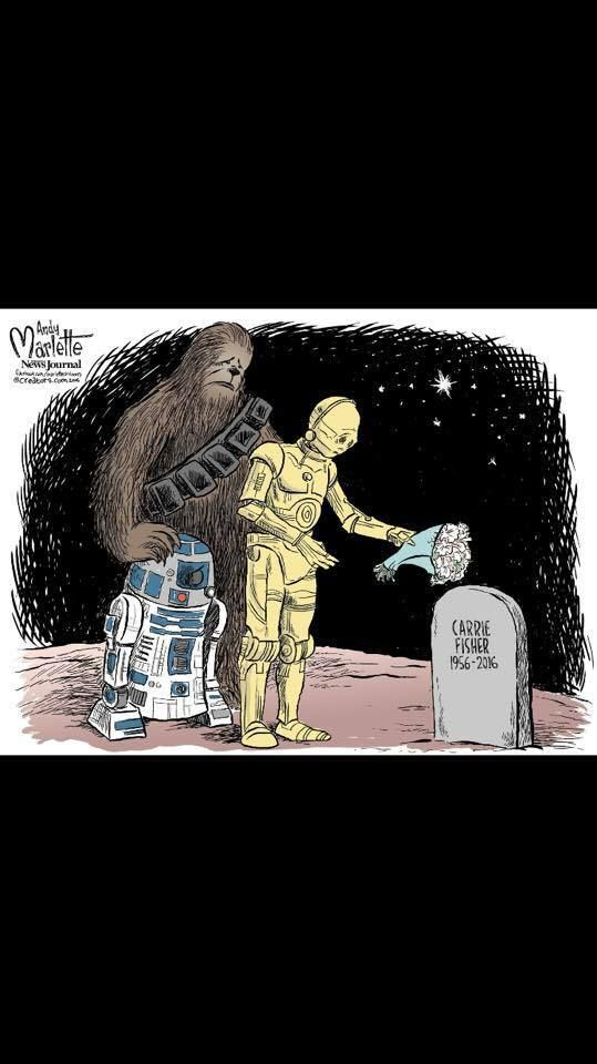 It's so sad!!! Miss you Carrie Fisher!!! 😩😩😩
