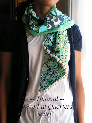 With beautiful fabrics by Amy Butler, I designed this scarf.  It is simple to make.   You will need:  Five different designs of fat quarter...