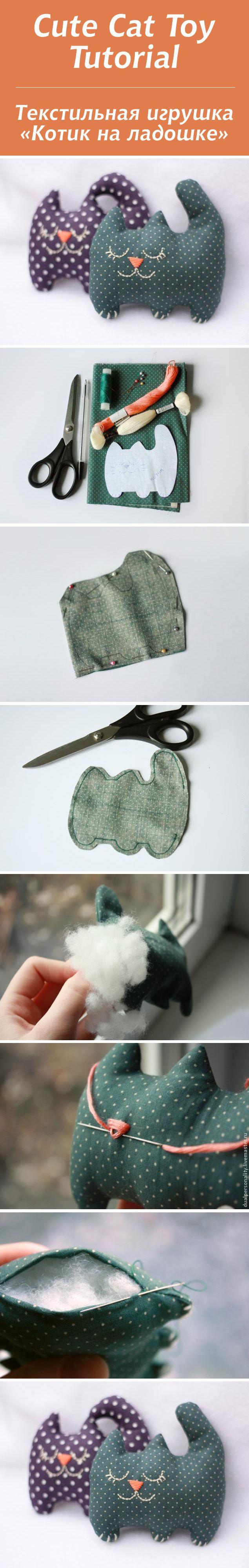 "Текстильная игрушка ""Котик на ладошке"" / Cute Cat Toy Tutorial #toy #tutorial"