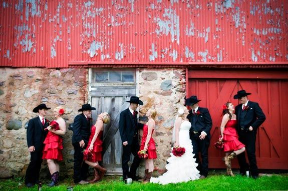 Red and Black Country Wedding.................kinda wanting my bridesmaids to have red dresses now...it looks so good together.