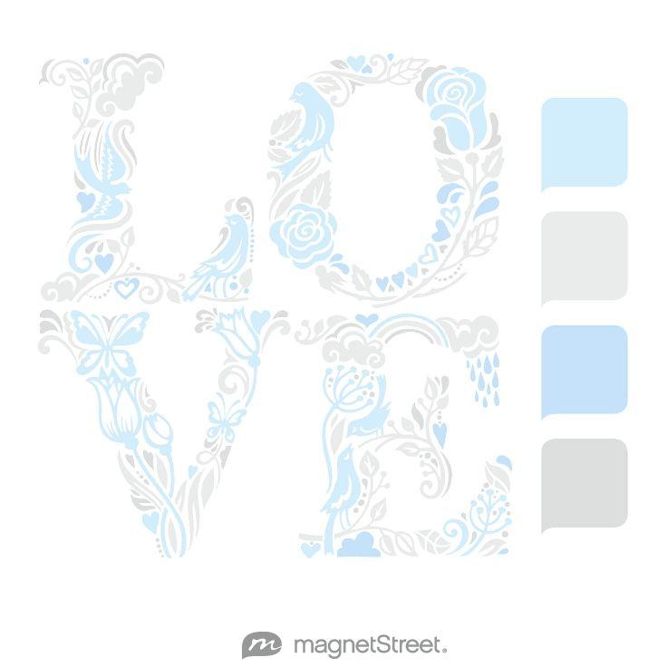Custom Blue, Winter White, Sky, and Silver Wedding Color Palette - free custom artwork created at MagnetStreet.com