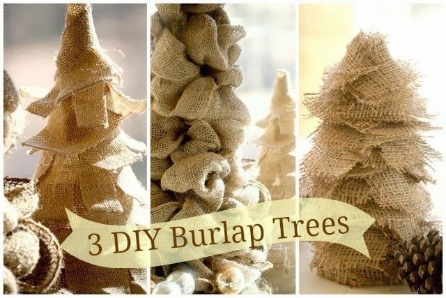 Okay…… Put aside the Halloween candy for a bit and get out the cones and burlap. We are making some trees! It seems that my little Charlie Brown trees that I shared last season have caused a bit of burlap ruckus. So I thought that in the spirit of all things burlap and trees we …