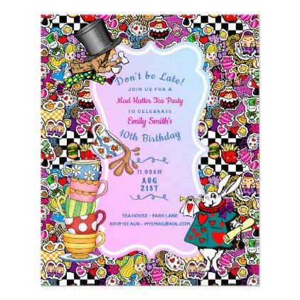 Alice in Wonderland Tea Party Invitations - Cheap Flyer - cheap gifts diy cyo unique gift ideas