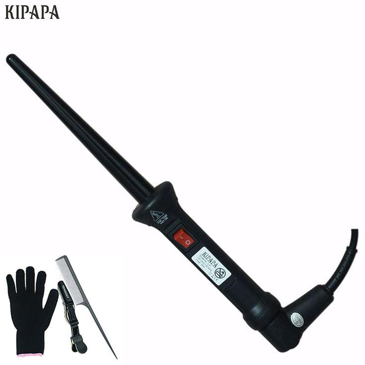 プロフェッショナルカーリングアイアン髪カーラー18ミリメートル黒テーパー毛ホットセラミックカーリング鉄
