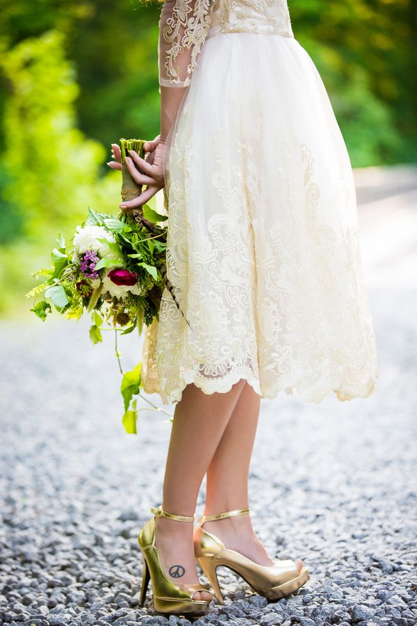 Dress, shoes,and Tat! Fab photo! Woodland Wedding Inspiration from South Carolina - KnotsVilla