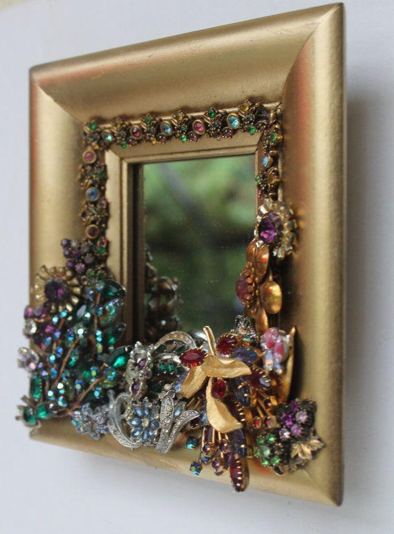Rhinestone Jeweled Mirror Gold Vintage Jewlery by slvilov on Etsy