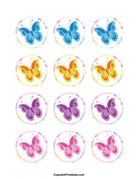 Butterfly cupcake toppers. Use the circles for cupcakes, party favor tags, and more. Free printable PDF download at http://cupcakeprintables.com/toppers/butterfly-cupcake-toppers/