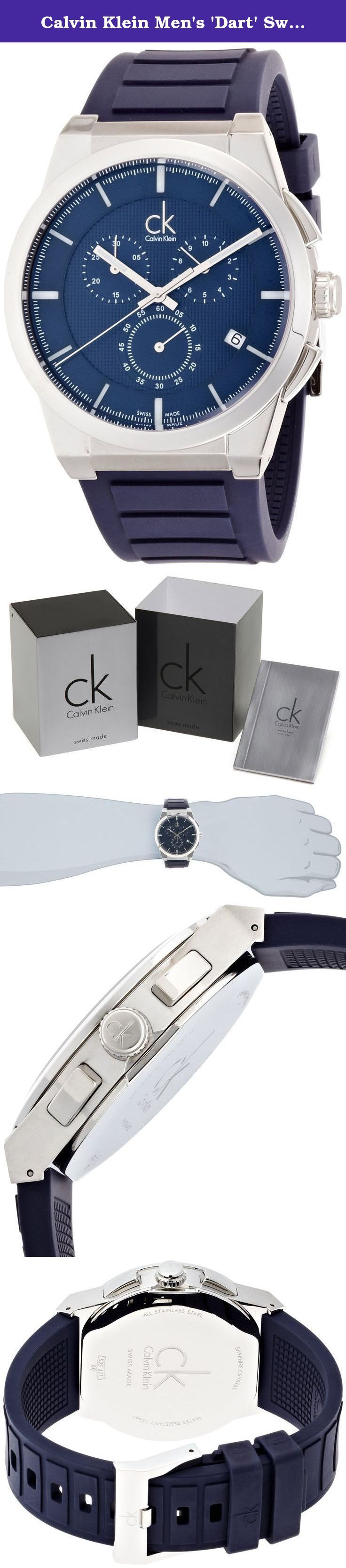 Calvin Klein Men's 'Dart' Swiss Quartz Stainless Steel and Rubber Casual Watch, Color:Blue (Model: K2S371VN). Calvin Klein, Dart, Men's Watch, Stainless Steel Case, Rubber Strap, Swiss Quartz (Battery-Powered), K2S371VN.
