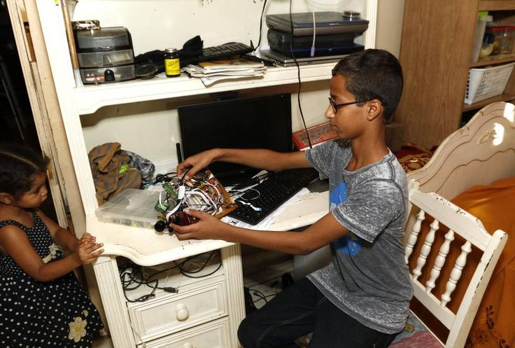 Muslim boy, 14, arrested for making clock mistaken for bomb - Family adjusting to Ahmed Mohamed's sudden fame as police announce no charges for clock deemed 'hoax bomb' | Dallas Morning News