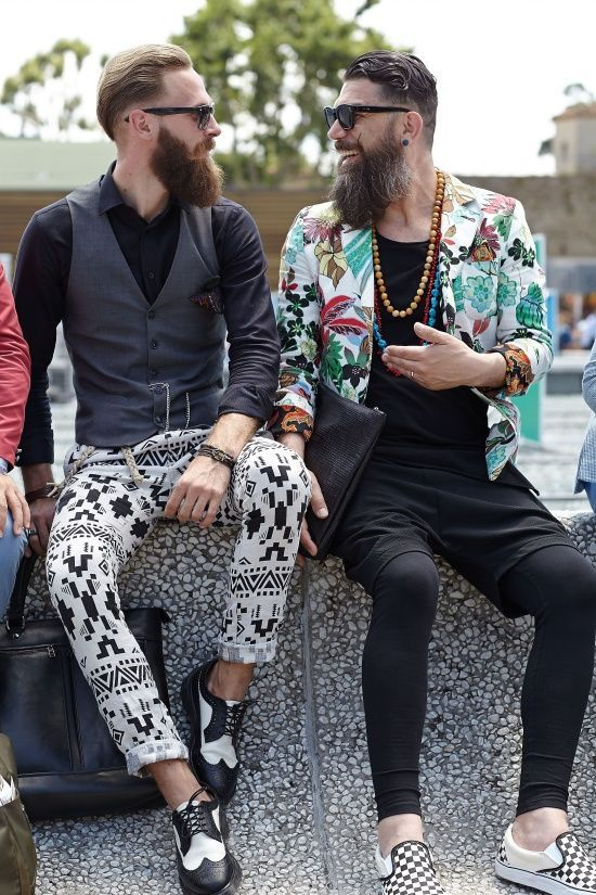 Hipsters in street outfit.