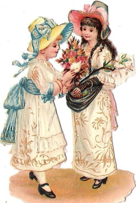Oblaten Glanzbild scrap die cut chromo Kind child Paar couple Freundin sister