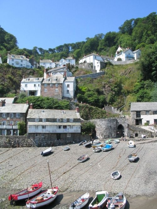 Clovelly - Harbour, Boats, and Town, Devon, England