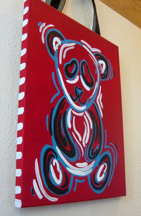 Alpha Omicron Pi Panda Bear Painting by tealejane on Etsy, $35.00