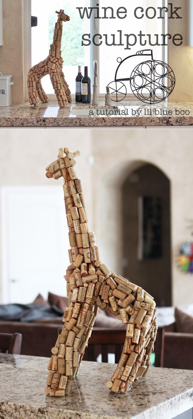 Cool Decor Ideas: Giraffe Cork Sculpture | DIY Wine Cork Craft Ideas by DIY  Ready