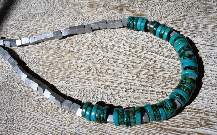 TURQUOISE & Recycled ALUMINUM cube bead necklace.  AAA grade turquoise-Boho/ organic/ southwestern/natural/chunky/ statement/ birthstone by MOUNTAINFORGERY on Etsy https://www.etsy.com/listing/465070649/turquoise-recycled-aluminum-cube-bead