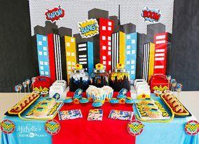 Fondo de 4 x 25 pies superhéroe fiesta de superhéroes