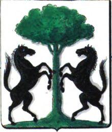 Zwei steigende Pferde an einem Baum - das Wappen der flämischen Freiherrn Osy de Zeegwaard, heute eine bekannte belgische Adelsfamilie. Ihre Hengste findet man auch auf der Gruft in Falkenstein - denn sie waren mehrfach mit den Bartenstein und Vrints verschwägert, ein Baron Osy übersiedelte von Belgien nach Poysbrunn um die Güter für seine Verwandten zu verwalten.