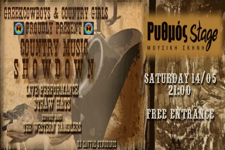 """Οι """"Greekcowboys and Country Girls"""", θα πραγματοποιήσουν το Σάββατο 14 Μαΐου, στη γνωστή μουσική σκηνή """"Ρυθμός Stage"""" το πάρτι τους """"Country Music Showdown""""."""
