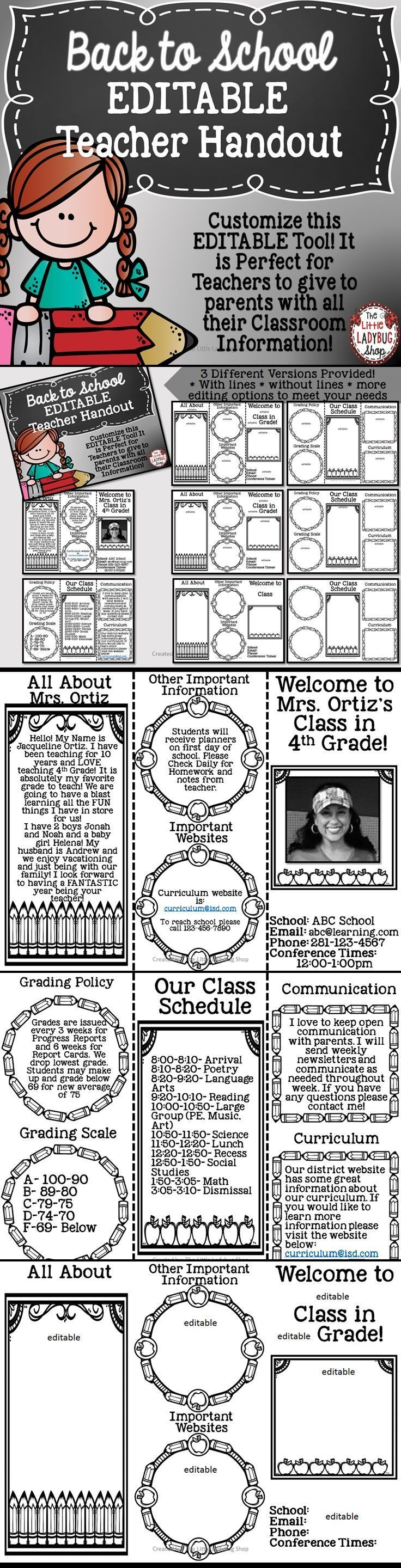 Back to School Teacher Brochure {Editable} | Back to School | Teacher Brochure |   Back to School is such a wonderful and BUSY time of the year! This perfect and easy tool is a wonderful way for parents to get to know All About YOU and your Classroom Info