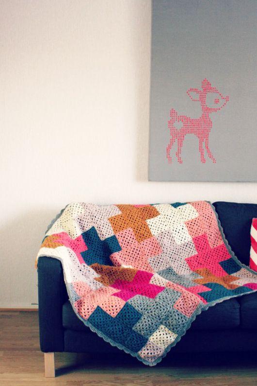 crocheted + blanket - granny squares