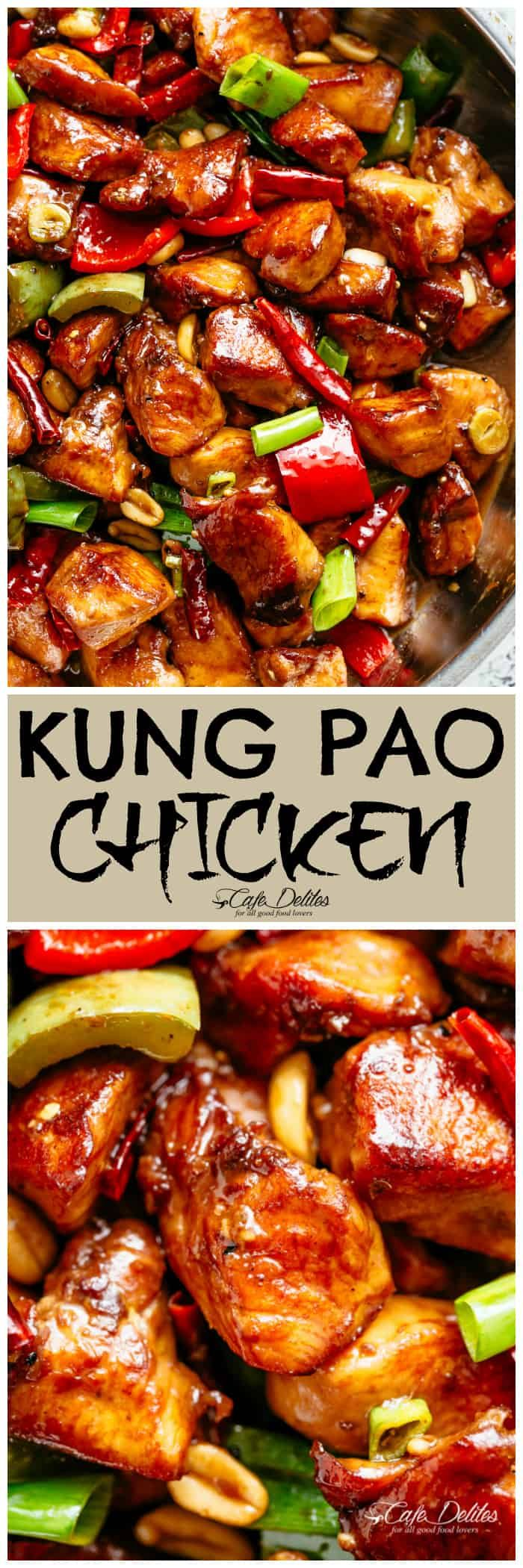 Kung Pao Chicken better than Chinese take out! With crisp-tender chicken pieces and some crunchy veggies thrown in, this is one Kung Pao chicken recipe hard to pass up! | cafedelites.com #kungpao #chicken #recipes #chinese