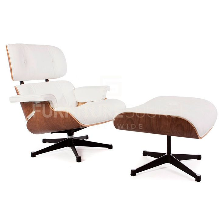 Classic Lounge Chair With Ottoman Stool In Style Of Charles U0026 Ray Eames    Walnut And White Leather