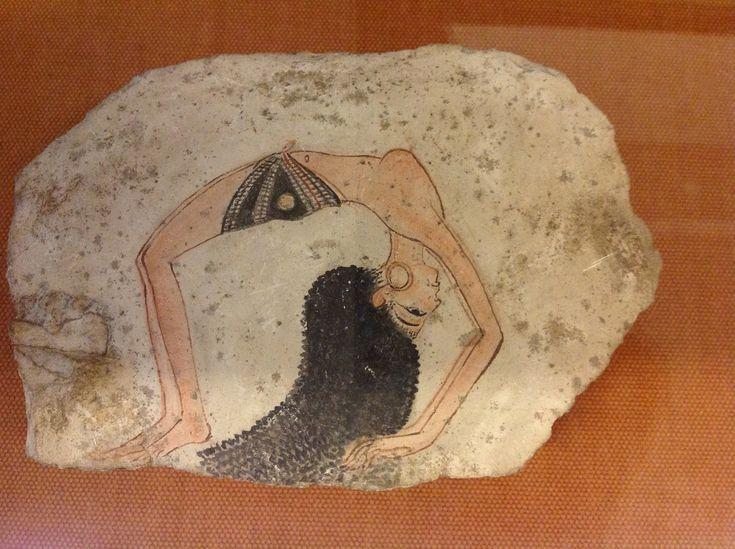 Museo Egizio Torino  Egyptian Dancer painted  on limestone ostracon, XIXth Dynasty,  c. 1200 BCE, Deir-el Medina, 20 x 15 cm, (Photo: P. Hunt 2012)