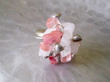 Silver Wrapped Flower Ring Pink White by JirjiMirjiOneofaKind, €12.90