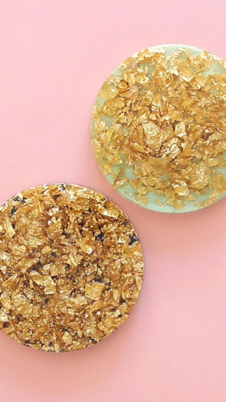 Gold Leaf Resin Coasters