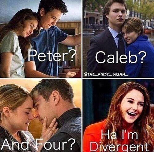 Peter: Dauntless (he was Dauntless cruel) Tobias: Abnegation (he was selfless but should have stayed) Caleb: Erudite (he belonged there)