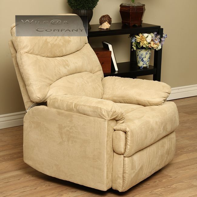 New Cream Microfiber Recliner Lazy Boy Reclining Chair Furniture Barcalounger #Traditional