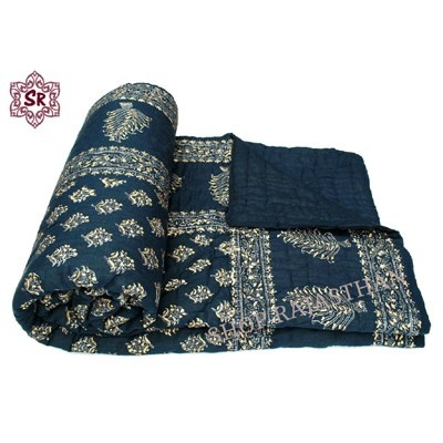 Jaipuri Hand Made Block Print Double Bed Quilts #Jaipuri Handmade Bed #Quilts #Samaan