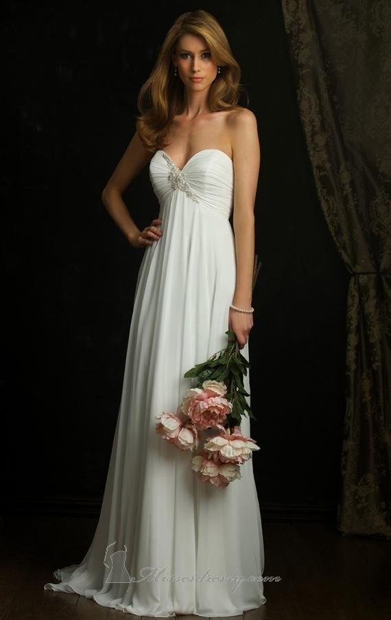 A line strapless princess white chiffon long prom dress for A line empire waist wedding dress