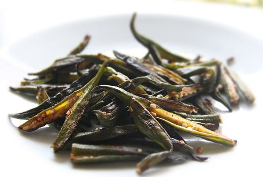 Dry, Spiced Ladyfingers (Okra) Recipe Side Dishes with okra, vegetable oil, salt, coriander, red chili peppers, ground turmeric