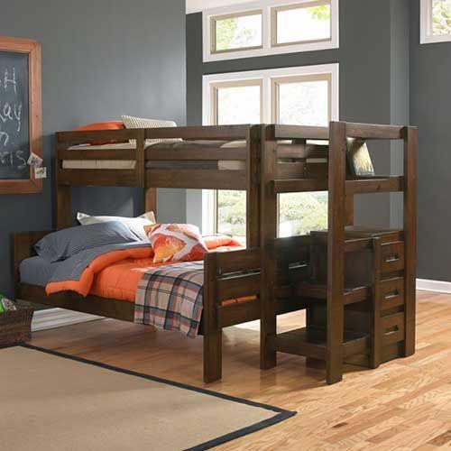 Oak Furniture West Twin Full Folding Bunkbed With Storage