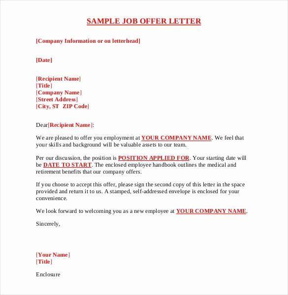 Job Offer Letter Sample Template