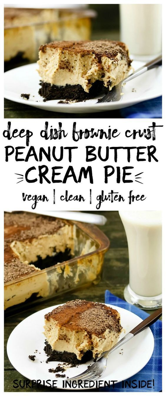 One of my favorite recipes! This thick, rich, peanut buttery deep dish peanut butter cream pie has a fudge brownie crust. Vegan and gluten free, and even has a surprise healthy ingredient!